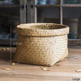Rustic Natural Straw Storage Basket Large (Set of 2) - G Home Collection