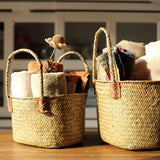 Rustic Natural Straw Storage Basket Bag with Handles (Set of 2) - G Home Collection