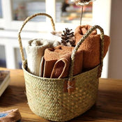 Rustic Natural Straw Storage Basket Bag with Handles (Set of 2)
