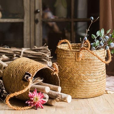 Rustic Natural Straw Basket Bag with Rope Handles (Set of 2) - G Home Collection