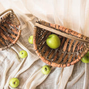 Rustic Natural Tree Bark Basket with Carry Handle (Set of 2)