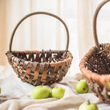 Rustic Natural Tree Bark Basket with Carry Handle (Set of 2) - G Home Collection