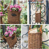 Rustic Handmade Willow Flat Hanging Basket (Set of 2) - G Home Collection