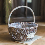 Rustic Handmade Willow Basket with Carry Handle (Set of 2)