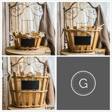 Rustic Linen Lining Handmade Wood Basket with Chalkboard (Set of 3) - G Home Collection