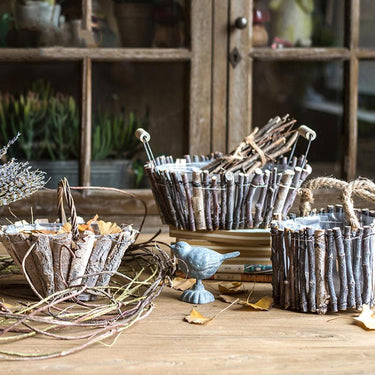 Rustic Wood Decorative Basket with Handles Randomly Picked Set of 3 - G Home Collection