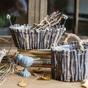 Rustic Wood Decorative Basket with Handles Randomly Picked Set of 3