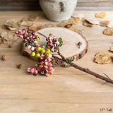 Rustic Artificial Berry Stem in Yellow Red 17