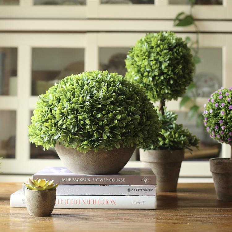 Rustic Potted Boxwood Faux Topiary - G Home Collection