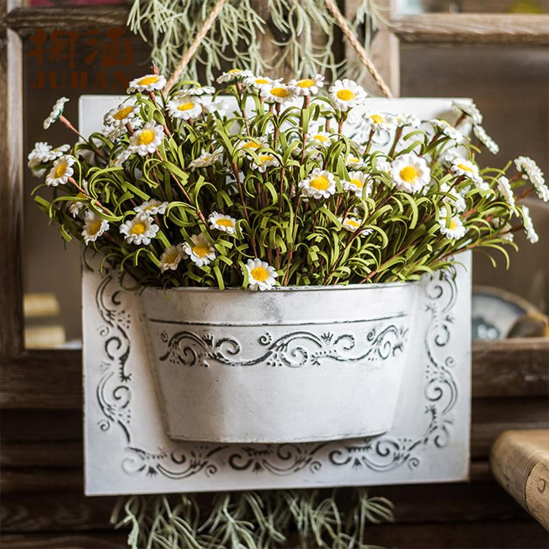 Rustic Eco PE Daisy Flowers with Iron Hanging Planter Set