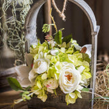 Rustic Hydrangea Rose Flower Bouquet with Wood Hanging Basket Set