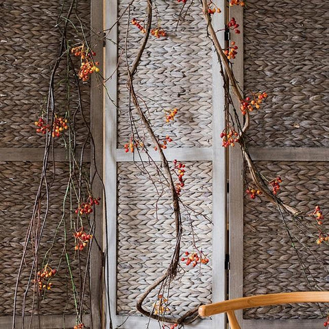 "Rustic Artificial Orange Berry Vines 39"" Tall"