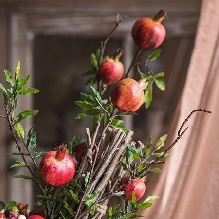 "Rustic Artificial Large Pomegranate Fruit Stem 36"" Tall"