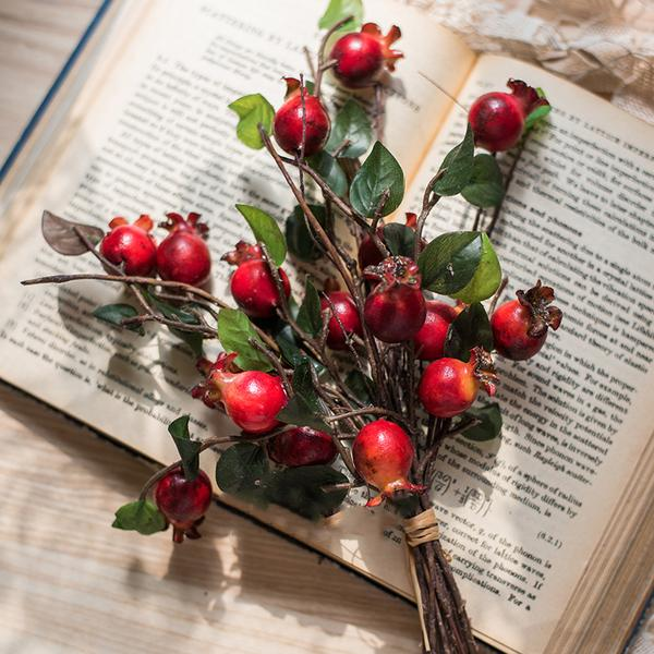 "Rustic Artificial Pomegranate Fruit Bouquet 12"" Tall"