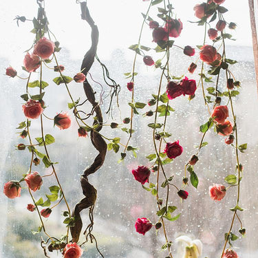 "Rustic Artificial Rose Branch Vines in Pink 59"" Long - G Home Collection"