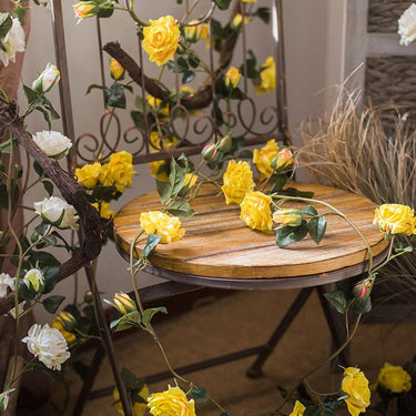 "Rustic Artificial Single Rose Vines in White or Yellow 59"" Long - G Home Collection"