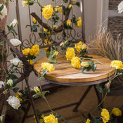 "Rustic Artificial Single Rose Vines in White or Yellow 59"" Long"