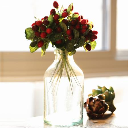 "Rustic Artificial Raspberry Fruit Stem 10"" Tall (Set of 5)"