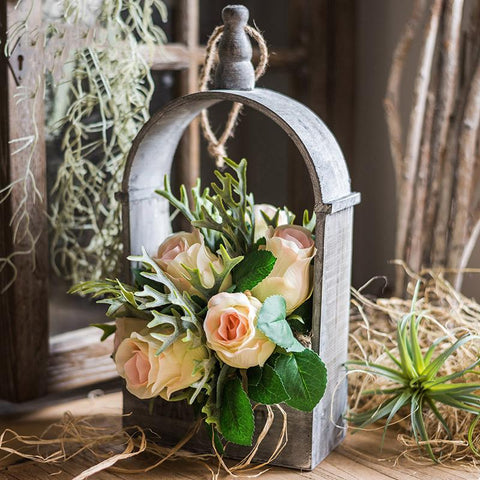 Rustic Rose Plant Bouquet with Wood Hanging Basket Set
