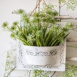 Rustic Snowflake Grass with Iron Hanging Planter Set