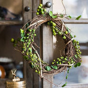 "Rustic Natural Rattan Willow Small Berry Wreath in Green and Red 2.5"" D (Set of 2)"