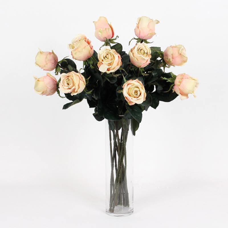 "Silk Champagne Color Single Rose Bloom Stem 26"" Tall - G Home Collection"