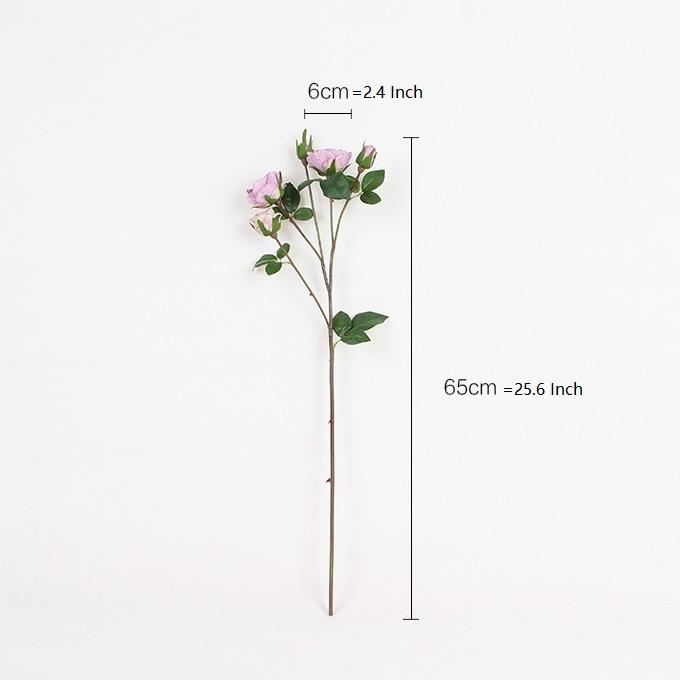 "Silk 4 Rose Bloom Stem in Light Pink and Purple 26"" Tall - G Home Collection"