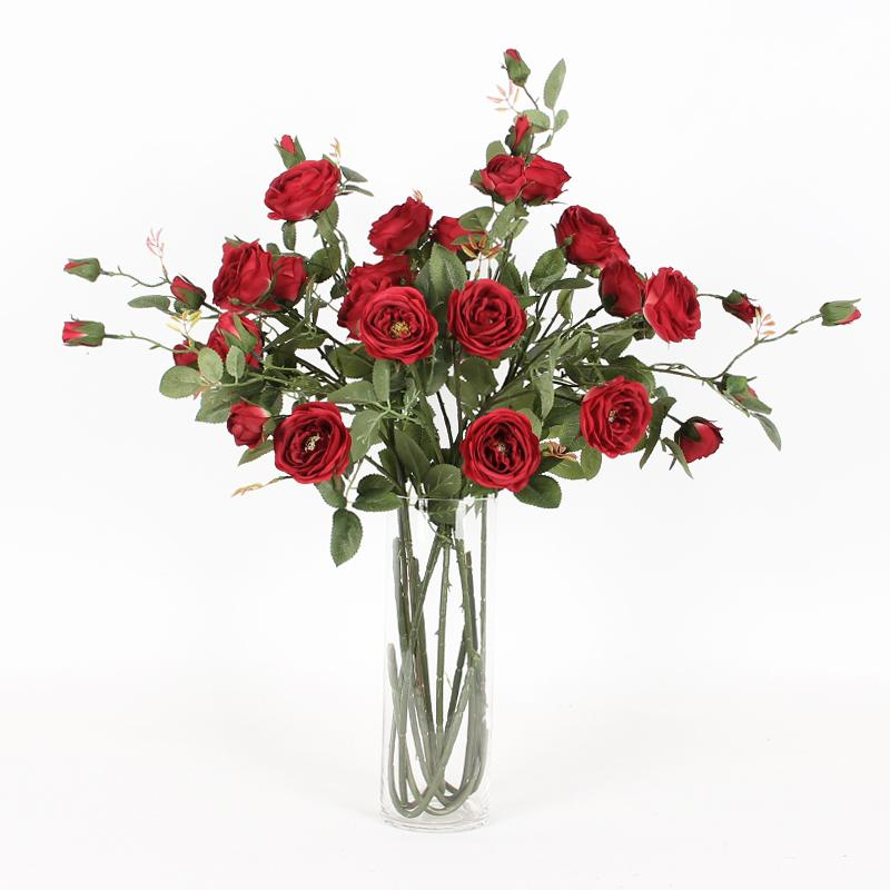 "Silk 6 Rose Bloom Stem in Red 37"" Tall - G Home Collection"