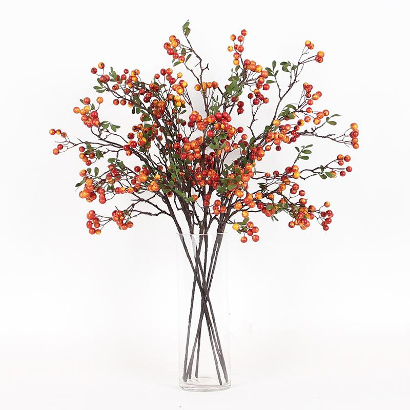 "Artificial Latex Coated Berry Stem in Yellow Orange 27"" Tall - G Home Collection"
