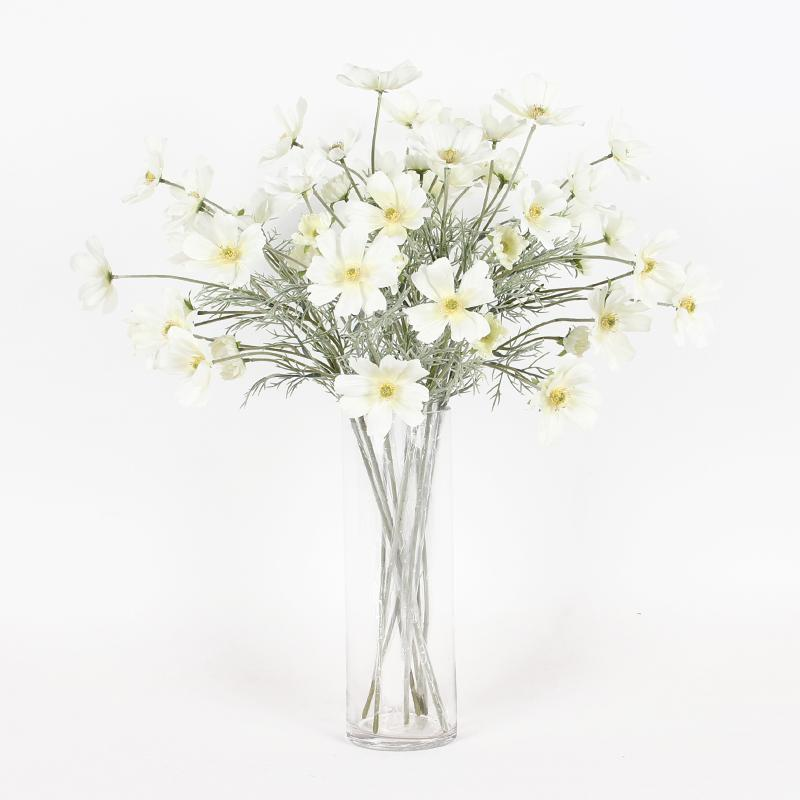 "Silk Cosmos Stem in White 24"" Tall - G Home Collection"