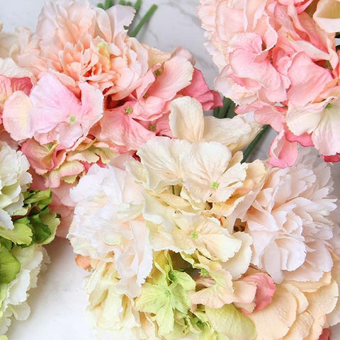 "Silk Hydrangea Peony Bouquet in Various Colors 12"" Tall"