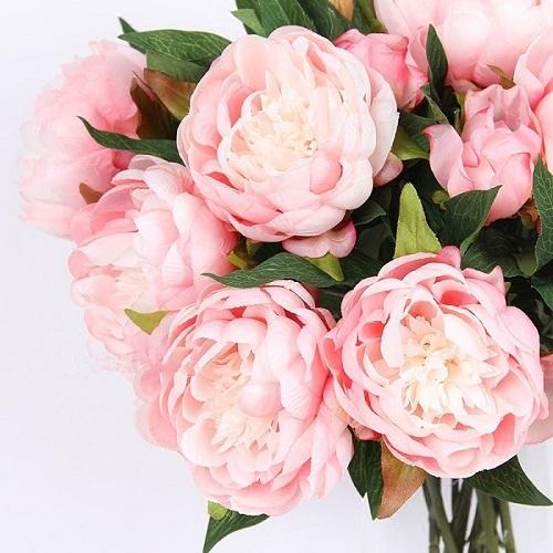 "Silk Peony Stem in Light Pink  20"" Tall - G Home Collection"