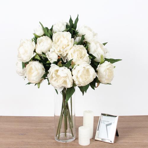 "Silk Peony Stem in White 20"" Tall - G Home Collection"