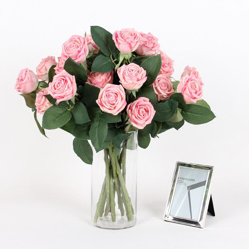 "Real Touch 2 Rose Bloom Short Stem in Light Pink 15"" Tall - G Home Collection"