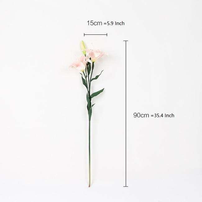 "Real Touch Lily Stem in Pink and White 35.4"" Tall - G Home Collection"