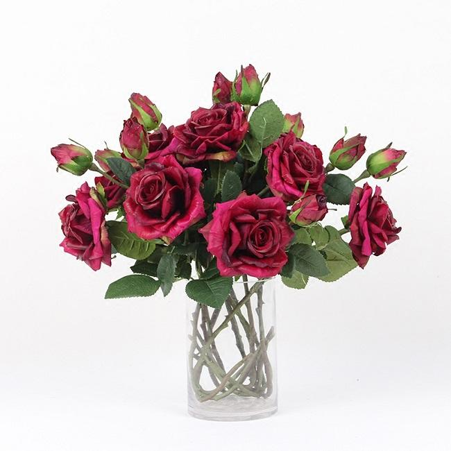 "Real Touch Rose Stem in Purple Pink 19"" Tall (Set of 5) - G Home Collection"