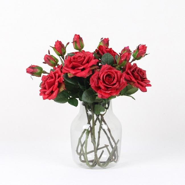 "Real Touch Rose Stem in Red 19"" Tall (Set of 5) - G Home Collection"