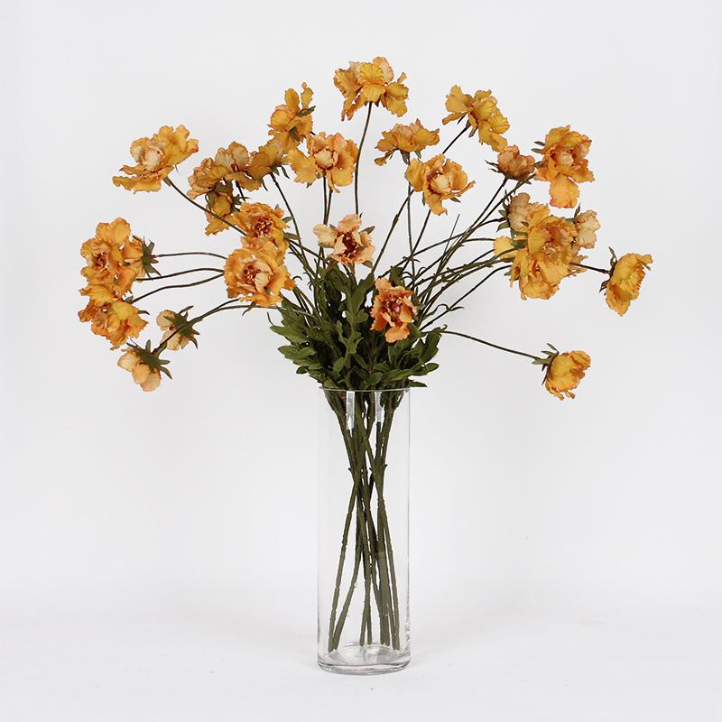 "Silk Serrated Petal Cosmos in Mustard Yellow 25"" Tall - G Home Collection"