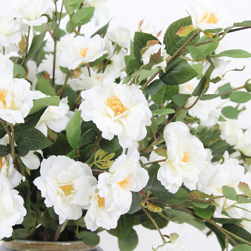 "Silk Flower Little White Rosa Stem 29"" Tall - G Home Collection"
