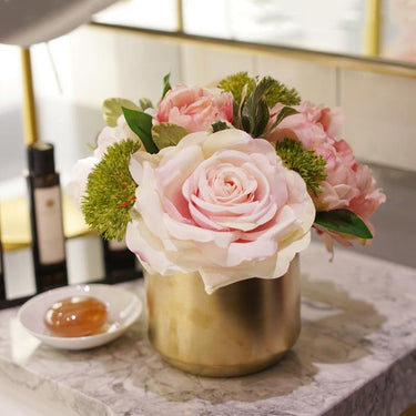 Pink Rose Peony Floral Arrangement in Gold Ceramic Vase - G Home Collection