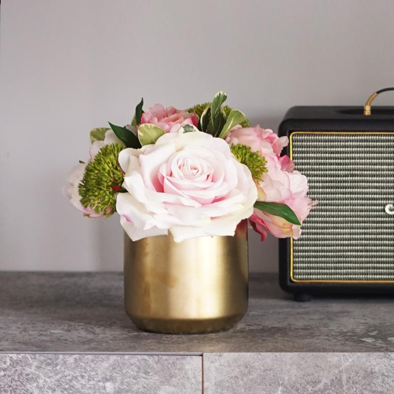 Pink Rose Peony Floral Arrangement in Gold Metal Vase - G Home Collection