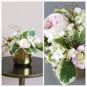 Greenery Leaves with Roses Floral Arrangement in Gold Ceramic Vase