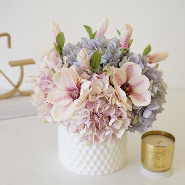 Pink Blue Hydrangeas Magnolia Floral Arrangement in Ceramic Vase - G Home Collection