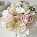 White Hydrangea Pink Rose Floral Arrangement in Silver Metal Vase - G Home Collection