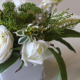 White Rose Greenery Floral Centerpiece in Glass Vase - G Home Collection