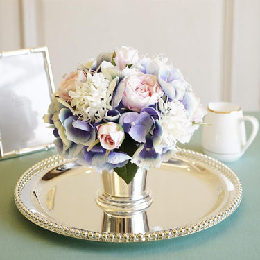 Blue Pink White Hydrangeas Pink Rose Floral Arrangement in Metal Vase - G Home Collection