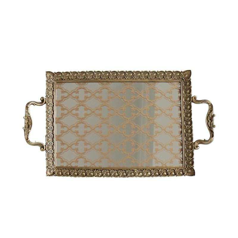 Carving Frame Floral Pattern Mirrored Brass Tea or Vanity Tray - G Home Collection