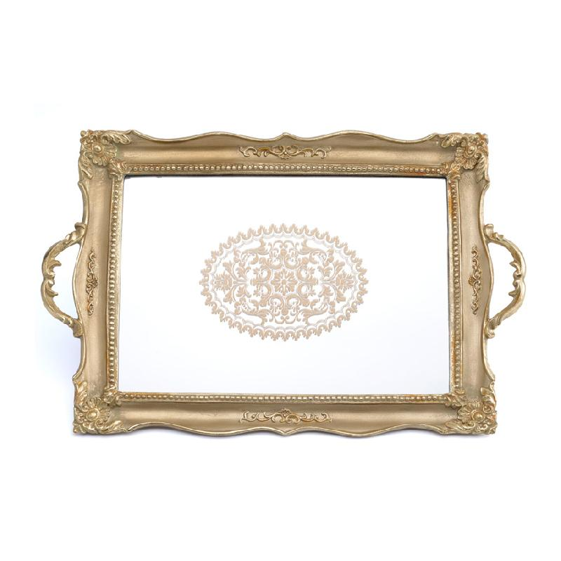 Antique Style Floral Carving Frame Brass Mirrored Vanity Tray - G Home Collection