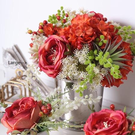 Red Orange Green with  Rose Hydrangea and Berry Flower Arrangement - G Home Collection
