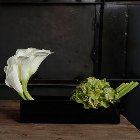White Lily and Green Hydrangea Flower Arrangement - G Home Collection